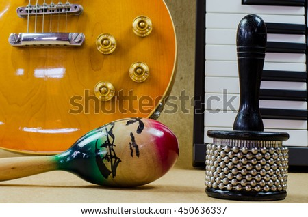 Percussion and Electric guitar Accessories music - stock photo