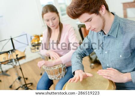 Percussion class - stock photo