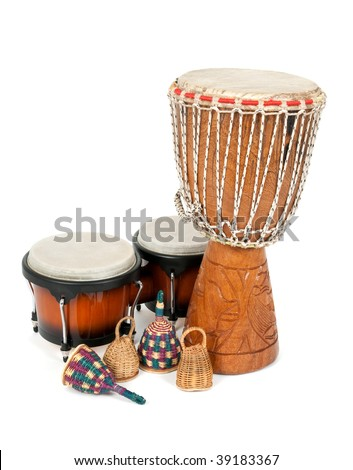 Percussion music instruments: djembe drum, bongos and caxixi shakers. - stock photo