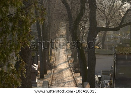 Pere Lachaise cemetery, Paris, France - stock photo