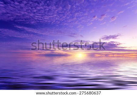 perfect abstract sunset. amazing seascape - stock photo