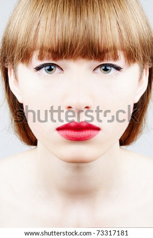 perfect and pure beauty of a young woman - face close-up - stock photo