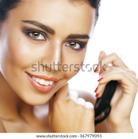 perfect beauty real brunette woman isolated on white background smiling close up spa makeup - stock photo