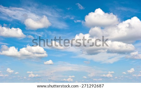 Perfect blue sky with white clouds. Nature background - stock photo