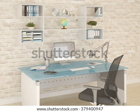 Perfect comfortable and spacious office space, 3d rendering. - stock photo