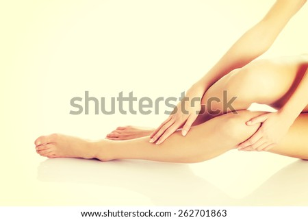 Perfect female legs with clean and smoth skin - stock photo