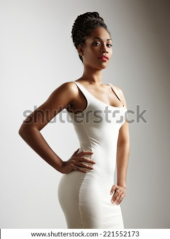 perfect fit black woman - stock photo