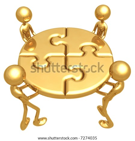 Perfect Fit Teamwork Puzzle - stock photo