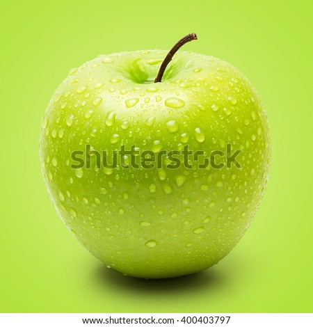 Perfect Fresh Green Apple Isolated on Green Background in Full Depth of Field. - stock photo