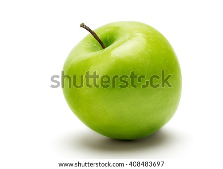 Perfect Fresh Green Apple Isolated on White Background in Full Depth of Field with Clipping Path. - stock photo