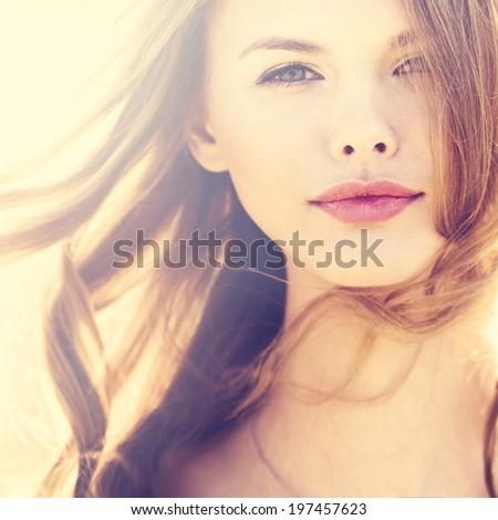 perfect girl portrait closeup - stock photo