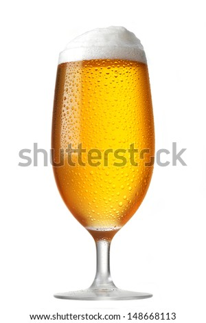 perfect glass of beer isolated on white - stock photo