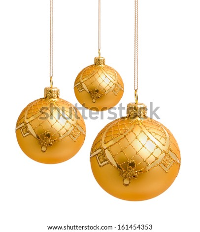 Perfect golden christmas balls isolated on white background - stock photo