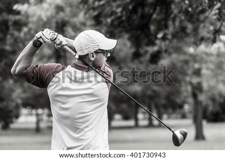 Perfect golf swing - stock photo