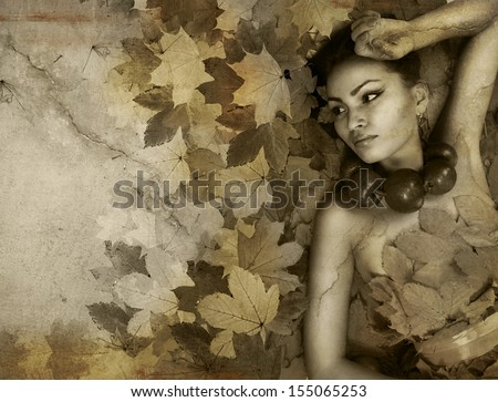 Perfect lady Autumn with grunge texture old wall - stock photo