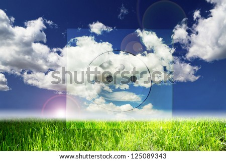perfect landscape with electric plug overlay - stock photo