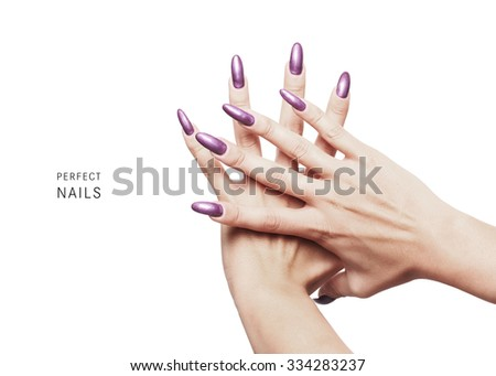 Perfect nails - beautiful nails painted with purple nail polish - stock photo