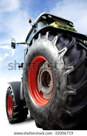 perfect new tractor with clipping path - stock photo