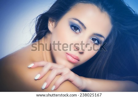 perfect nourished young woman beauty portrait - stock photo