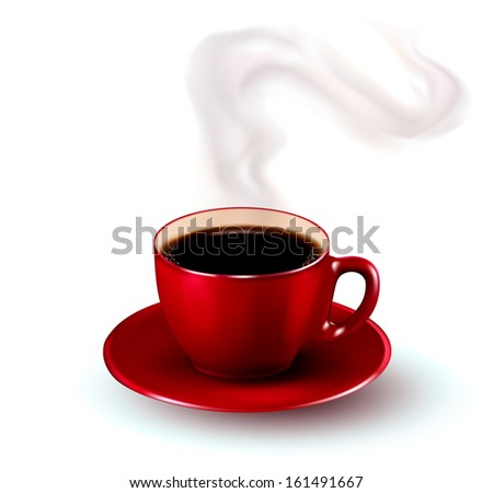 Perfect red cup of coffee with steam.  - stock photo