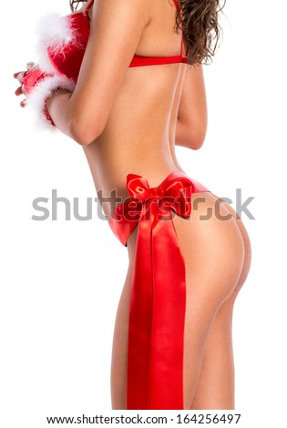 perfect sexy nude butt  with red bow - stock photo