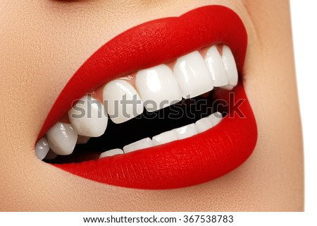 Perfect smile after bleaching. Dental care and whitening teeth. Stomatology and beauty care. Woman smiling with great teeth. Cheerful female smile with fresh clear skin - stock photo