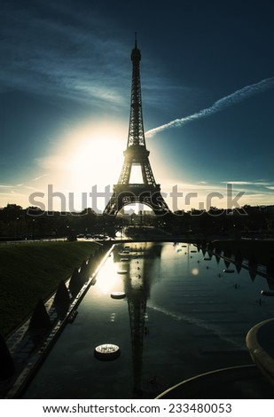 Perfect sunrise on trocadero place and eiffel tower in Paris - stock photo