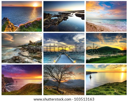 Perfect sunsets compilation - stock photo