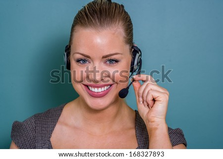 perfect  support with female customer service representative - stock photo