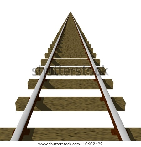 Perfect train tracks isolated on white - stock photo