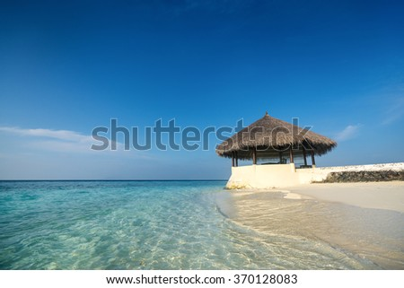 Perfect tropical island paradise beach Maldives - stock photo