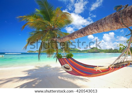 Perfect tropical paradise beach of seychelles island with palm trees and hammock - stock photo