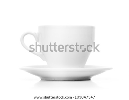 Perfect white coffee cup with steam isolated on white - stock photo