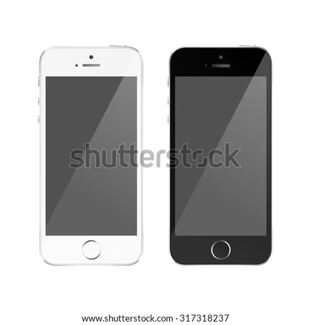 Perfectly detailed modern smart phone isolation. Raster version of my illustration - stock photo