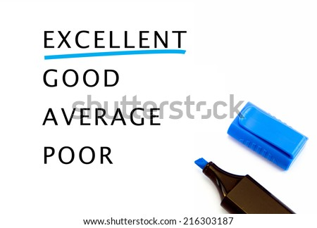 Performance evaluation form with blue marker - stock photo