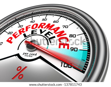 performance level conceptual meter indicate hundred per cent, isolated on white background - stock photo