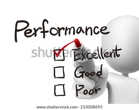 performance list checking by 3d man over transparent board - stock photo