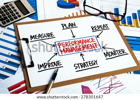performance management flowchart concept hand drawing on clipboard - stock photo