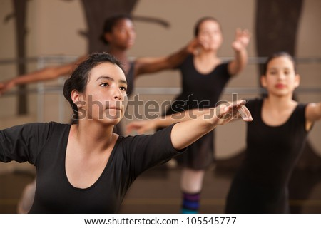 Performance rehearsal by young ballet students in class - stock photo
