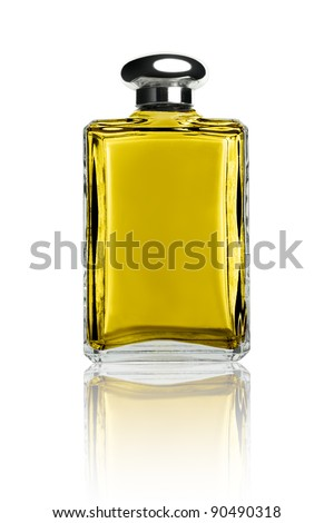 Perfume bottle isolated on white front view reflected - stock photo