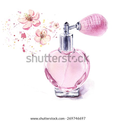 Perfume bottle spraying flowers isolated on white background, watercolor illustration - stock photo