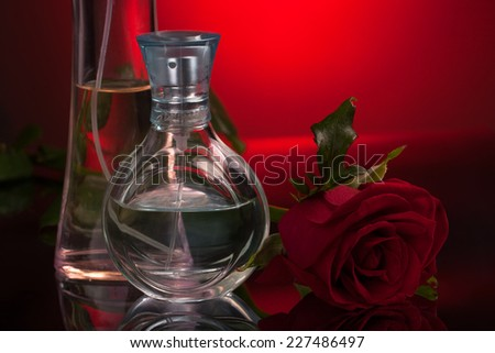 Perfume bottles and rose with reflection - stock photo