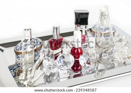 Perfume Bottles on plateau - stock photo
