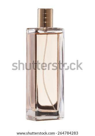 perfume in glass isolated on white. - stock photo