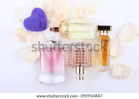 Perfume, Scented, Perfume Sprayer with flower and heart shape - stock photo