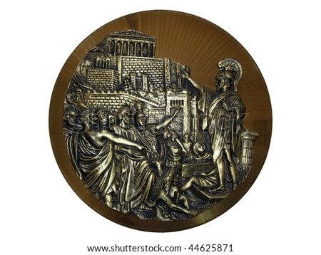 Perikles orating on the Akropolis of Athens with the Parthenon on the background. - stock photo