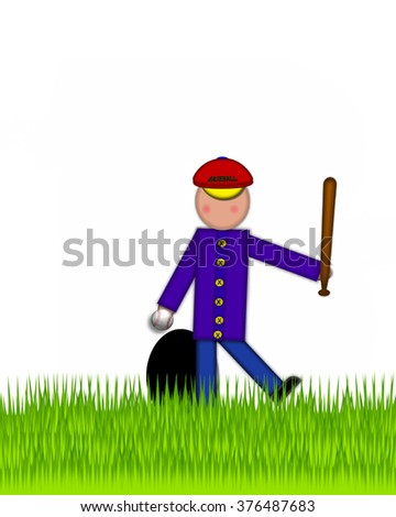 """Period, in the alphabet set """"Children Baseball"""" is black and trimmed with white.  Child is playing baseball in a field of green grass.  Equipment includes bat, ball and glove. - stock photo"""