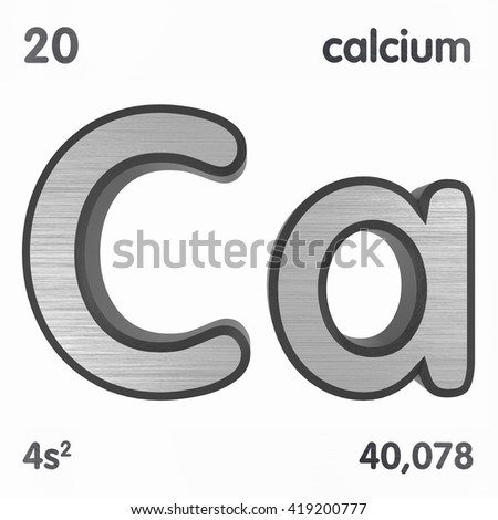 Periodic Table of Elements. Calcium. 3d title Isolated on white. 3D rendering - stock photo