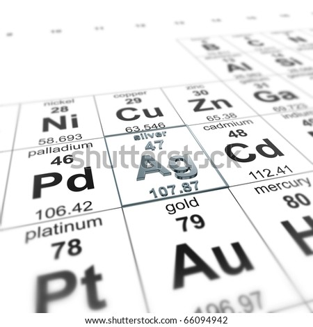 periodic table of elements, focused on silver - stock photo