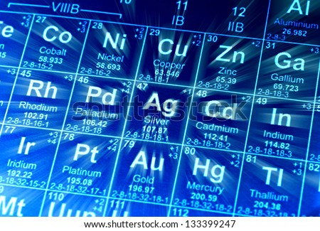 Periodic table of elements. Motion effect. - stock photo